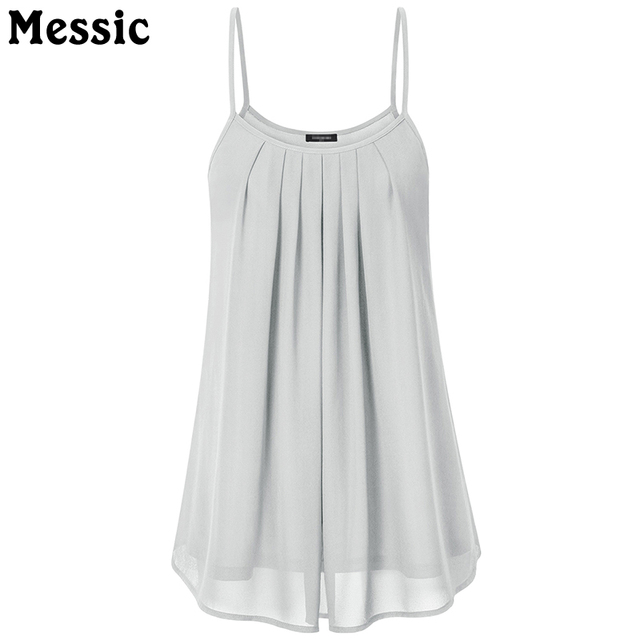 e8833f7beabd6 Messic Casual Tunic Pleated Chiffon Tank Top Sleeveless Double Layer Women  Camisole 2018 Summer Ruched Long Ladies Cami Vest