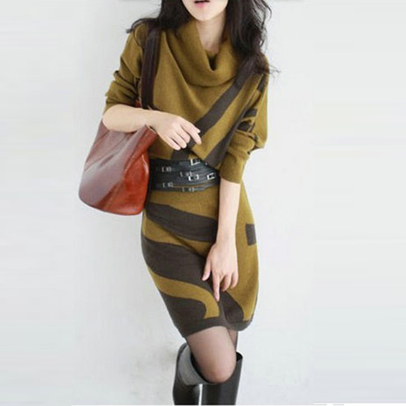 <font><b>2017</b></font> New Women Spring Autumn Knitted Dress Turtleneck Long Sweater Dresses <font><b>Sexy</b></font> Striped Casual Loose Vestidos With Sashes AB093 image