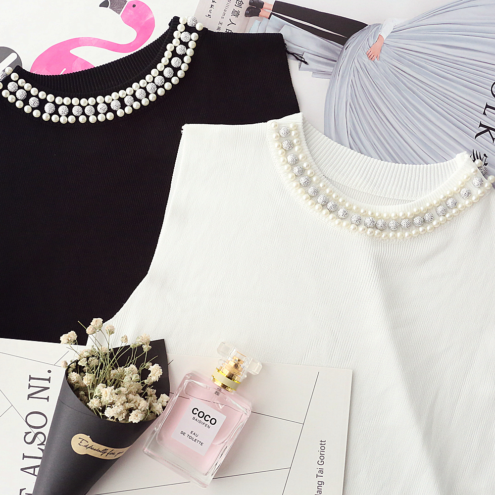 Black White Summer Spring Fashion Women Sleeveless Thin Sweater Female All-match Beading O-neck Knitted Vest Girl Camis Tank Top