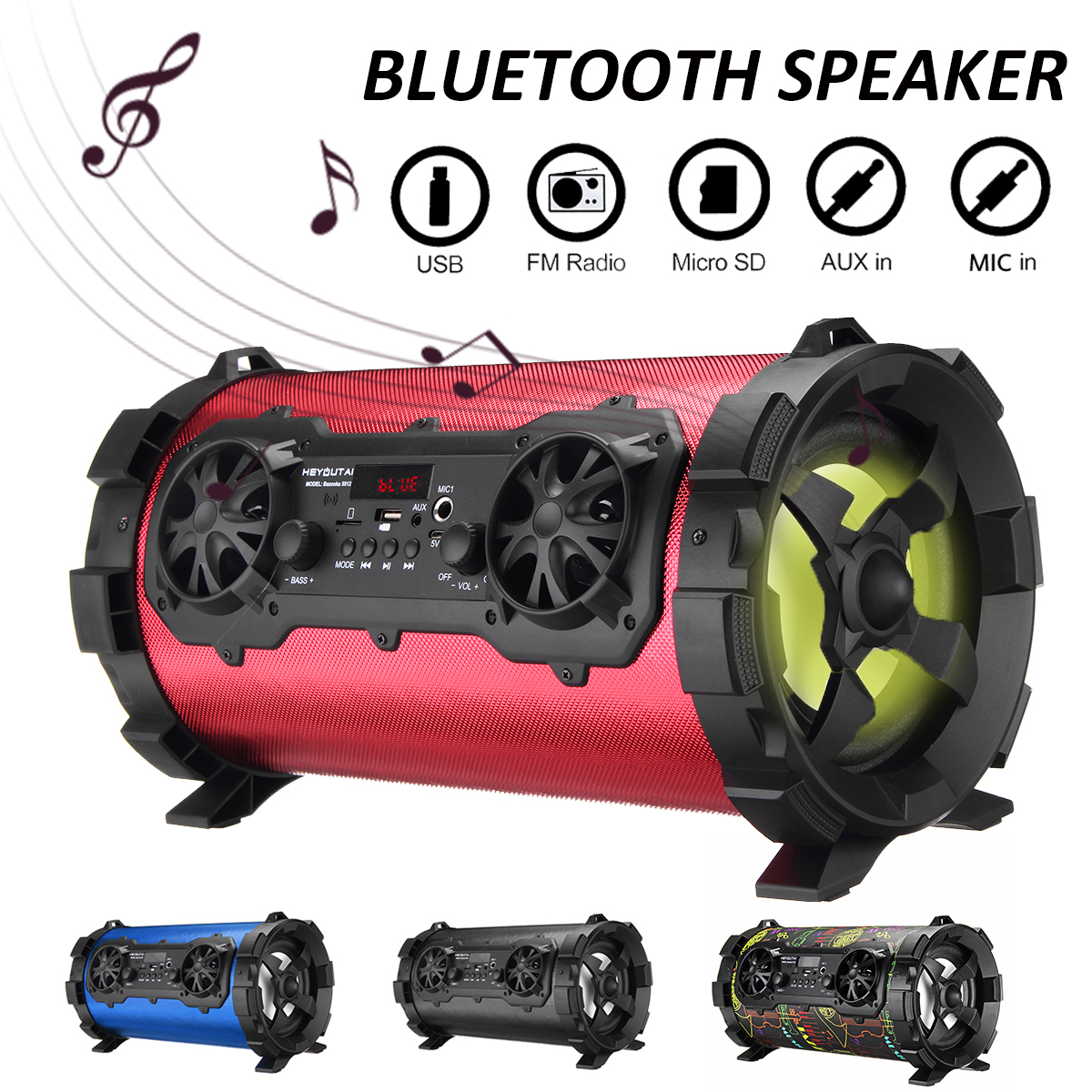 25W Wireless Bluetooth V4.1 Speaker Portable Loudspeaker Sound System AUX/USB/TF Card/Radio FM Outdoor Speaker Player Music getihu portable mini bluetooth speakers wireless hands free led speaker tf usb fm sound music for iphone x samsung mobile phone