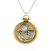 Good design round pendant with popular elements owl/key/gears/ steampunk fashion necklace jewelry