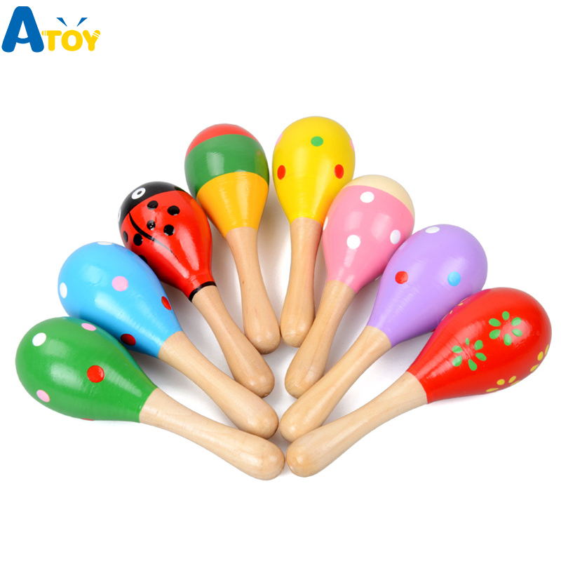 Colorful Wooden Maracas Baby Child Musical Instrument Rattle Shaker Party Children Gift Toy Early Educational Toys Gift For Kids
