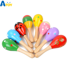 Colorful Wooden Maracas Baby Child Musical Instrument Rattle Shaker Party Children Gift Toy Early Educational toys Gift for Kids цена в Москве и Питере