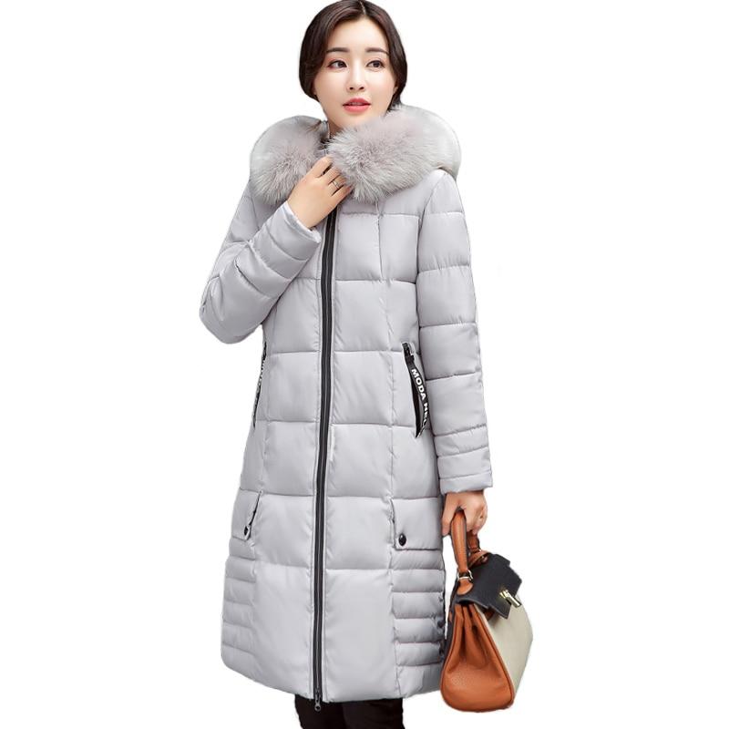 9b7e6cb18b 2019 plus size long women warm winter jacket hooded fur collar outerwear  female coat solid black jaqueta feminina inverno