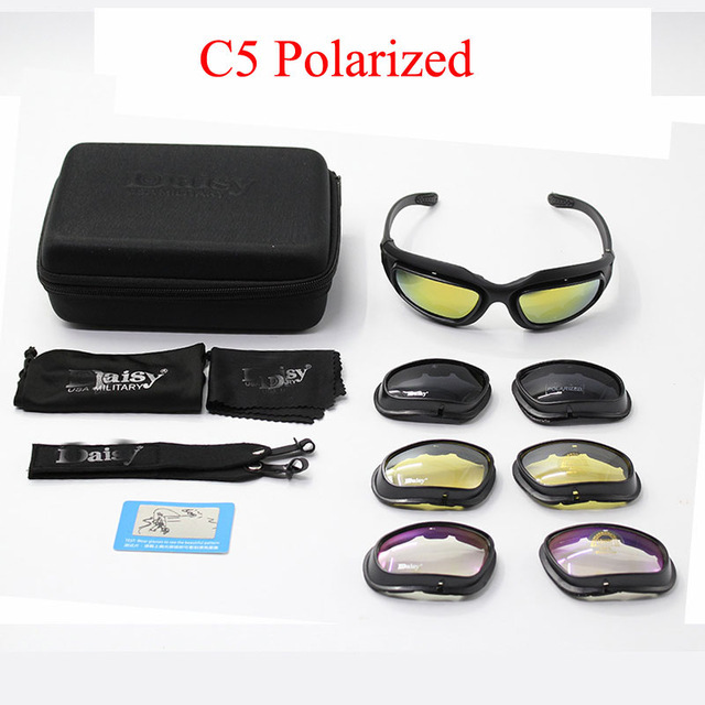 C5 Motorcycle Glasse Army Goggles Desert Storm 4 Lens Outdoor Sports Hunting Sunglasses Anti UVA UVB X7 Polarized War Game