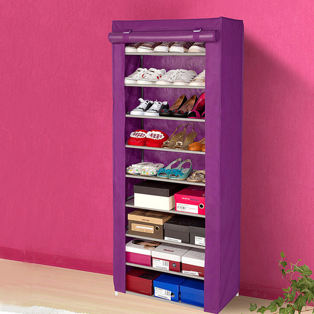 9 layer shoe rack shelf storage closet organizer cabinet with cover non woven fabric shoes - Shoe Rack For Closet