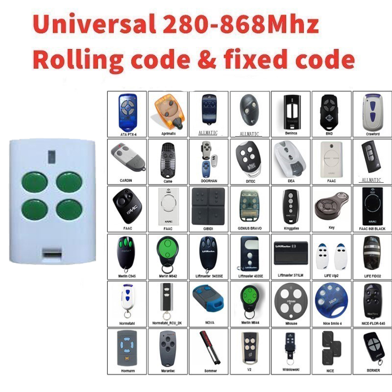Garage door opener Multi frequency 280-868mhz remote garage command rolling code remote control duplicator gate control cloneGarage door opener Multi frequency 280-868mhz remote garage command rolling code remote control duplicator gate control clone