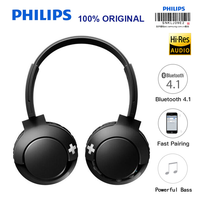 Philips SHB3075 Headband Wireless Headset with Bluetooth 4.1 Volume Control Lithium Polymer for Iphone X Official Verification 3 7v lithium polymer battery 051 230 501 230 iron general remote control bluetooth headset wireless mouse