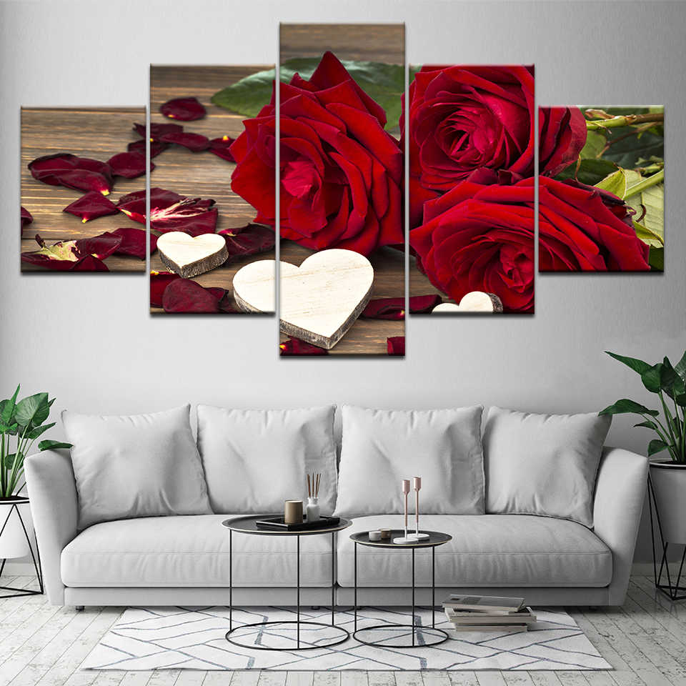 Printed Canvas Painting Wall Art 5 Panel Beautiful Roses Cuadros Decoration Painting Modular Pictures On The Hall Wall Framework