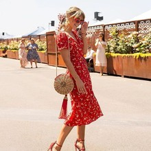 Ladies Sweet Floral Print A-Line Dress Summer V-Neck Bow Tie Split Dress 90s Streetwear Casual Dresses 2018 Sexy Sundress