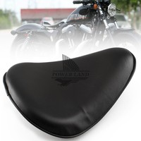 Free Shipping Motorcycle Cushion Synthetic Leather Orange Style Black Solo Seat Universal for Harley Chopper Bobber Sportster