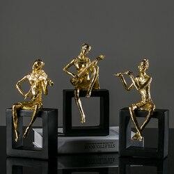 Music Man Golden Plating Desktop Ornament Creative Home Accessories Resin Bedroom Furnishing, Best Gift