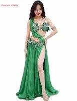 Luxury women belly dance clothes diamond bra top and silk skirt 2pcs belly dance Performance suit girls ballroom dance clothing