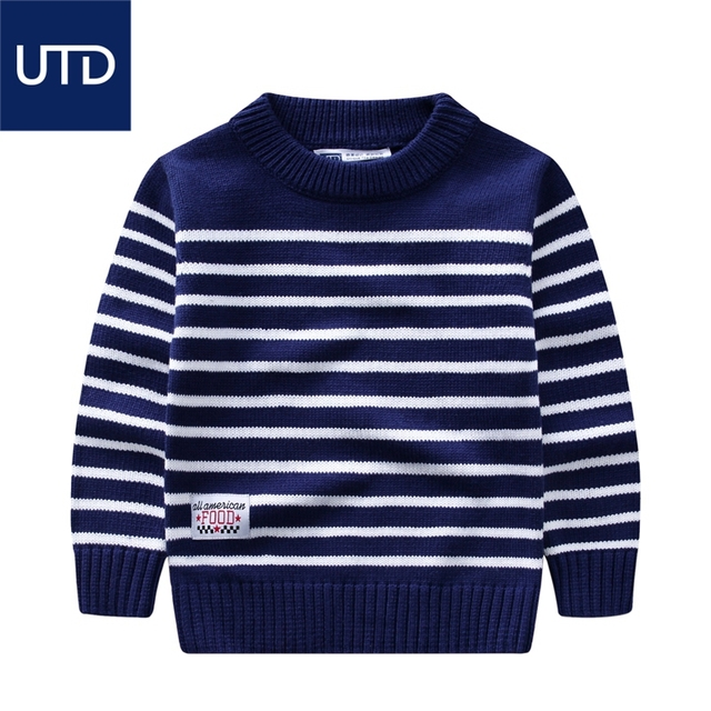 boys sweater head cotton sweater 2017 new spring children's children's striped sweater