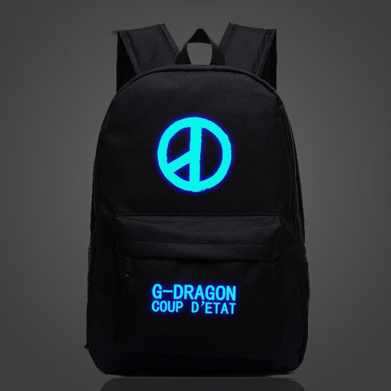 Big Bang G-dragon Luminous Backpack Teens Kids Boys Girls Big Bang G-dragon School Bag Women Men Travel Backpack Laptop Backpack