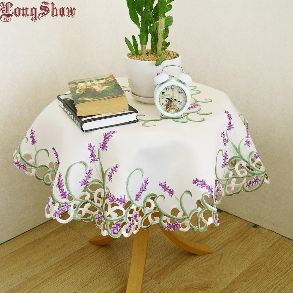 Beige Kleur 85x85 Cm Ronde Elegante Handgemaakte Geborduurde Cutwork Lavendel Tafelkleed Koop One Give One