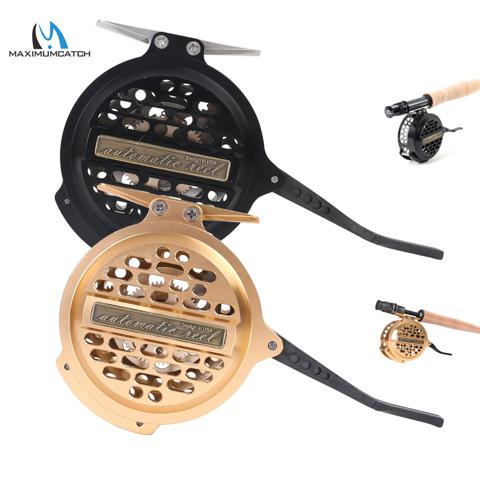 Maximumcatch Super Light Automatic Fly Fishing Reel Y4 70 2+1 BB Aluminum Fly Reel Black/Gold Color