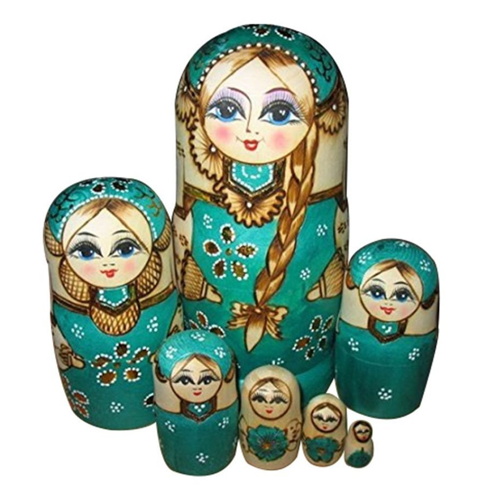 7pcs Wooden Russian Nesting Dolls Braid Girl Dolls Traditional Matryoshka Wishing Dolls Gift Green ceramic 3 piece nesting