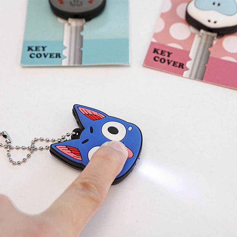 1pc Silicone Key Ring Cap Head Cover With Light Keychain Cartoon Animal Shape Flexible rubber Key Protector LED Lamp Key Holder