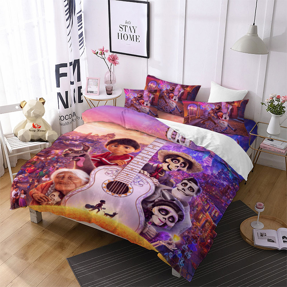 Anime Coco Bedding Set Kids Duvet Cover With Pillowcases Cartoon Comforter Bedding Sets Queen King size