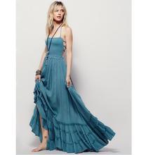 Sexy dos nu halter longue maxi dress jurk robe longue femme woemn big swing summer beach dress robe longue