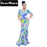 Sıcak Stil Seksi Mavi Çiçek Baskı Kat Uzunluk Maxi Elbise Mermaid Bodycon Sonbahar Elbise Dashiki Afrika Baskı Elbiseler D29-AE42