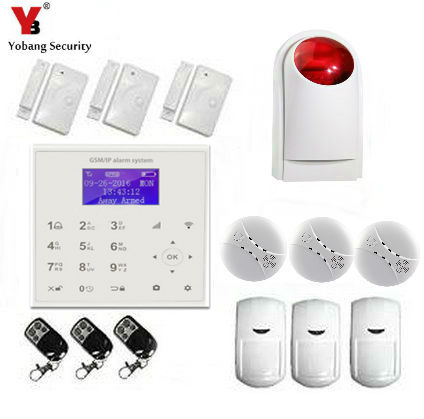 YobangSecurity WIFI GSM Wireless Home Security Alarm System with Wireless Flash Siren Smoke Fire Detector Android IOS APP yobangsecurity touch keypad wireless wifi gsm home security burglar alarm system wireless siren wifi ip camera smoke detector