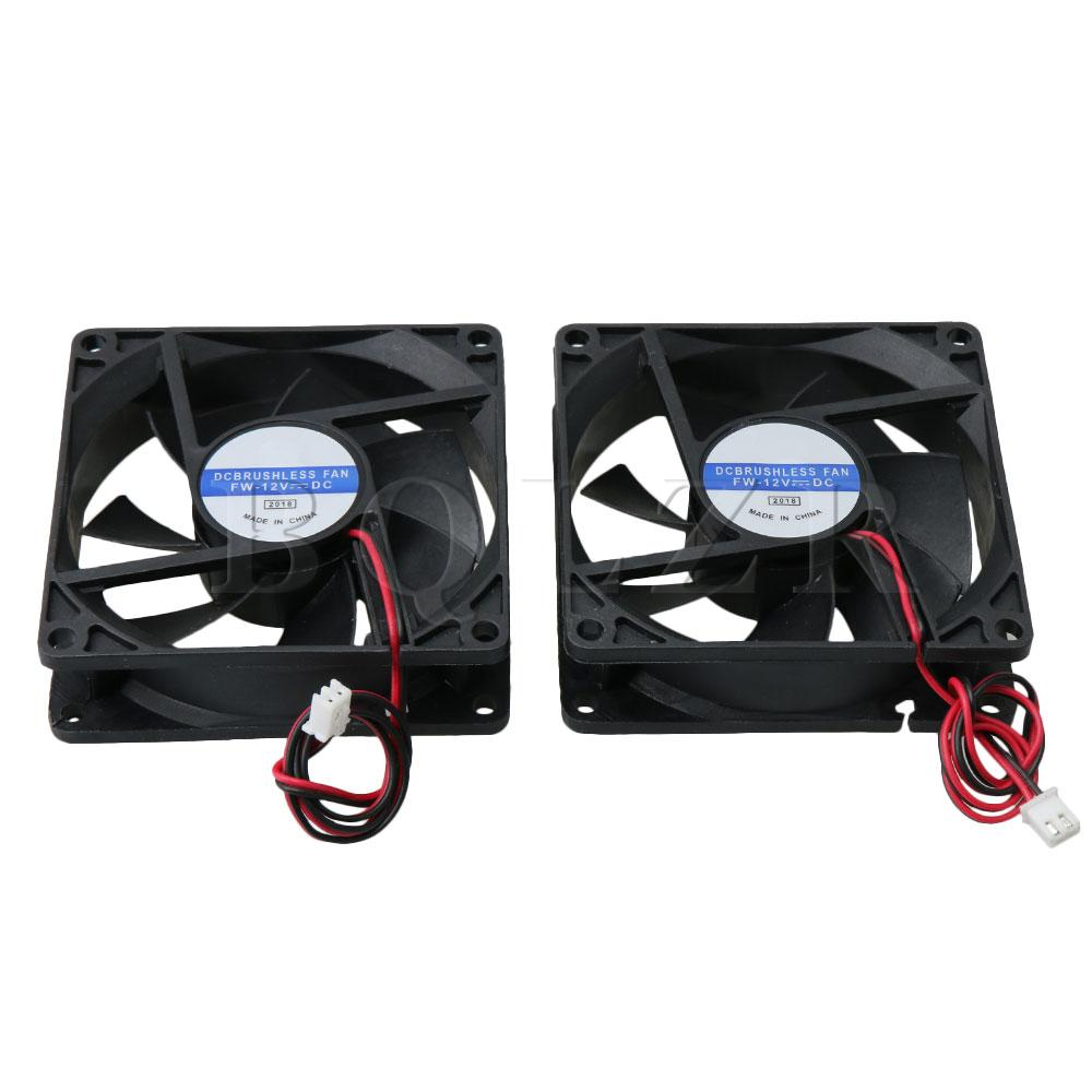 BQLZR 2PCS 8x8x2.5cm 8025 DC 12V Silent Chassis Cooling Fan 2 Wire Power SupplyBQLZR 2PCS 8x8x2.5cm 8025 DC 12V Silent Chassis Cooling Fan 2 Wire Power Supply