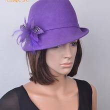 585284c8400 Purple 100% Ladies hat Wool felt hat for winter church Derby Christmas day.(
