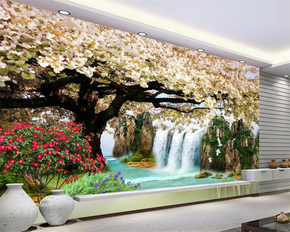 wall paper Natural waterfall cherry landscape 3D living room room sofa background decoration 3D wallpaper papier peint Beibehang