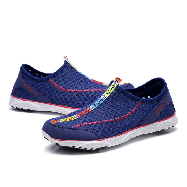 b4763fcbe3bf Summer Hot Men s Casual Shoes for Adult Supper Breathable Beach Shoes  Quick-drying Wading Shoes Water Mesh Sneaker Blue Black