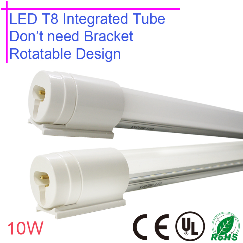Rotatable LED T8 Integrated tube 10w 600mm 85-265v Transparent Clear Cover Milky Cover LED Bulb  Lamp 2ft Adjustable beam angle t8 integrated led tube 5ft 1500mm 24w with accessory completed set easy install milky cover clear cover available high quality