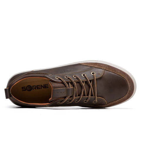 SERENE Brand Cow Leather Men Shoes High Quality Casual Lace-up Shoes Breathable Footwear Man Suede Shoes Retro Leisure Sneakers Karachi