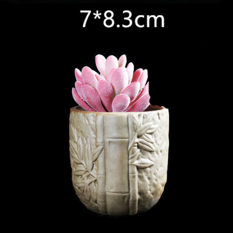 Creative Round Bamboo Planter Mould for Concrete DIY Cement Silicone flowerpot Mold