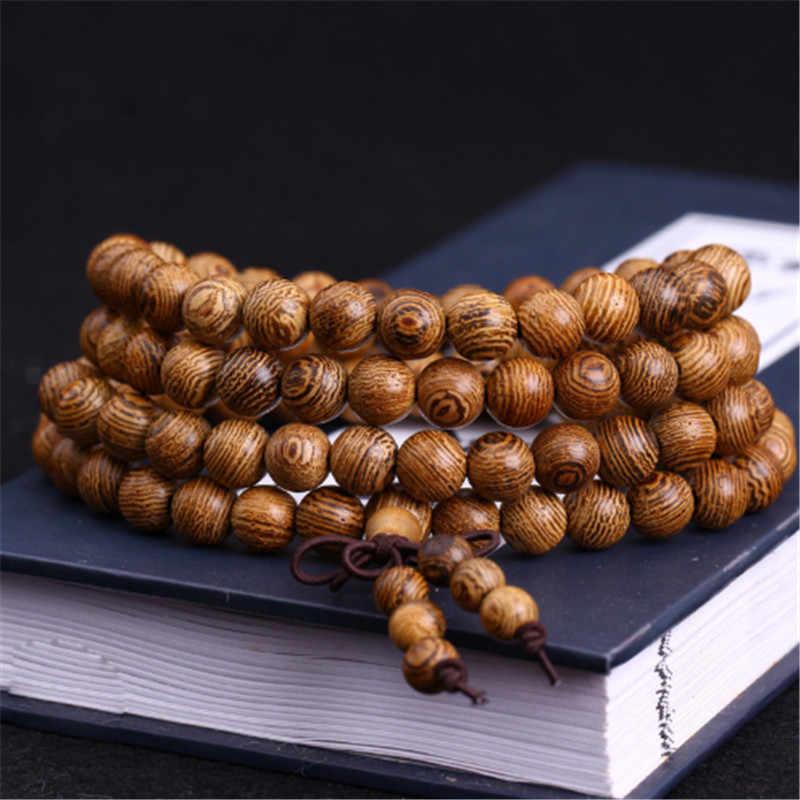 Brazalete con cuentas de madera 108 para hombres, cuentas de oración de Wenge, pulseras budistas tibetanas para mujer, pulseras de madera para hombre, joyería