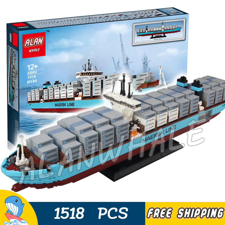 1518pcs Creator Expert Maersk Line Triple-E Freighter Cargo Ship 22002 Model Building Blocks Toys Bricks Compatible With lego 1234pcs creator maersk trains freight cargo locomotive 21006 classical diy model building kit blocks toys compatible with lego