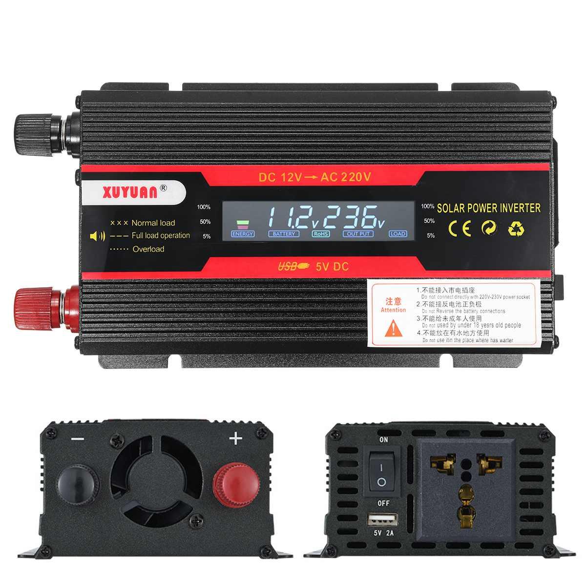 Car Inverter 12V 220V 6000W Pe ak Power Inverter Voltage Convertor Transformer 12V/24V To 110V/220V Inversor + LCD Display 20