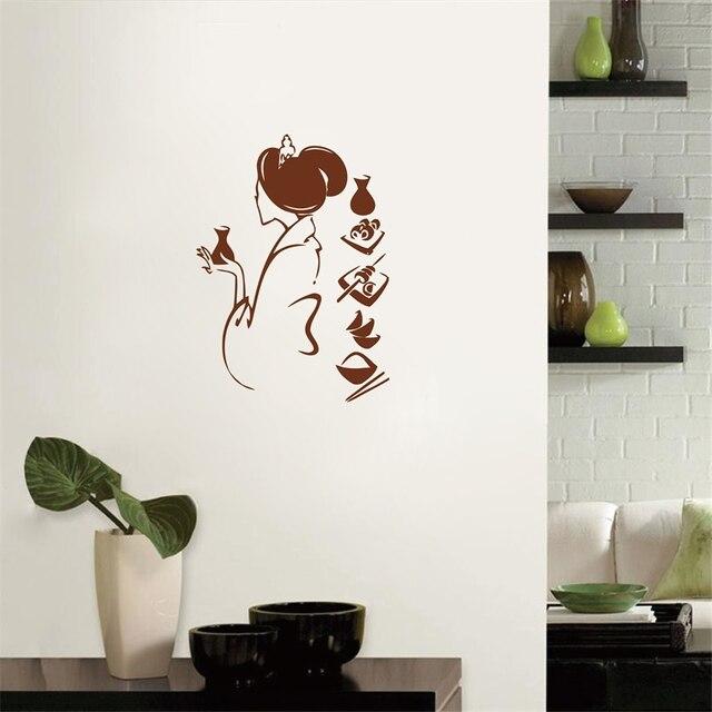 Envío libre chica japonesa con comida tradicional pared del vinilo ...