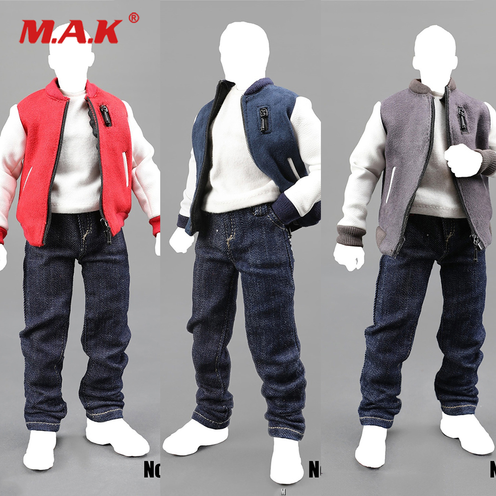 "Male 1//6 Casual Clothing Set T-shirt /& Denim Jeans Pants Fit 12/"" Action Figure"