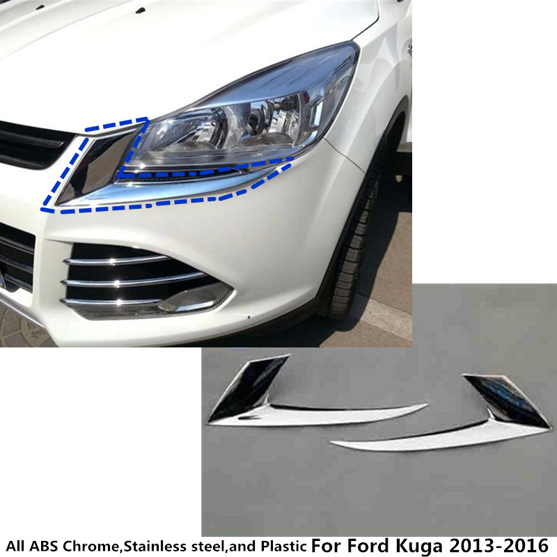 Hot sale Car styling body head front eyebrow/trim light lamp frame stick ABS Chrome cover 2pcs For Ford Kuga 2013 2014 2015 2016