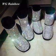 2016 Genuine Leather Winter Boots Women Luxury Handmade Gem Rhinestones Bling Women's Warm Fur Snow Boots Big Size EU35-43
