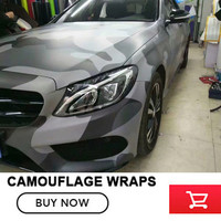 Black Gray Camouflage Vinyl Car wrap film Camo Car Sticker Motorcycle Bike Wraps Bubble Free 1.52x30m /roll