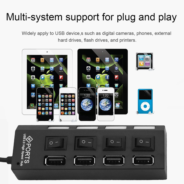 4 Port Micro USB Hub 2.0 USB Splitter High Speed 480Mbps USB 2.0 Hub LED With ON/OFF Switch For Tablet Laptop Computer Notebook