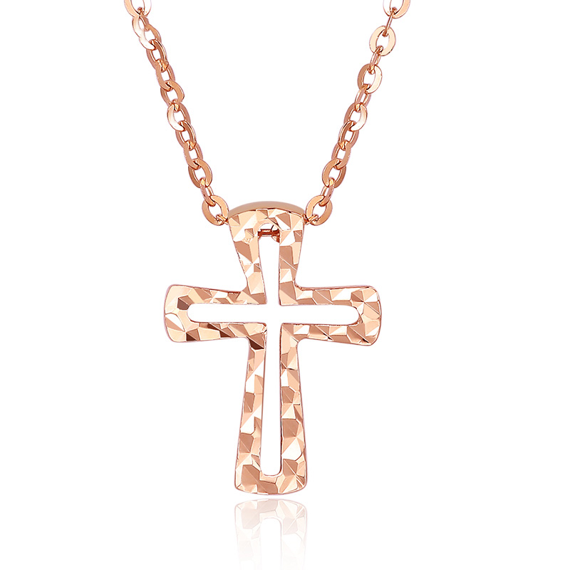 Boraizy Delicate 18KT AU750 Pure Solid Gold Rose Cross Pendant Charm Necklace for Women Female Girl Gift Party Fine Jewelry