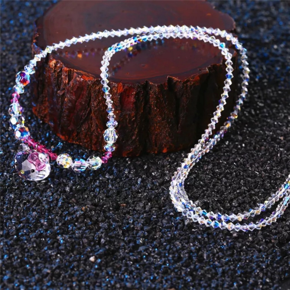 2018 New SWAN Jewelry Women Trendy Crystal Long Sweater Chain Necklace Cute Hello kitty cat Girls Birthday Christmas Xmas Gifts trendy copper tube sweater chain for women