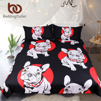 BeddingOutlet Bulldog Bedding Set Black and Red Quilt Cover With Pillowcases Cartoon Pug Dog Home Textiles for Kids 3 Piece