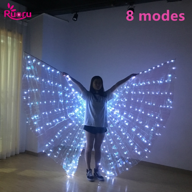 Ruoru Belly Dance Led Wings 8 Modes Adult Split Led Isis Wings with Stick Open 360