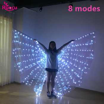 Ruoru Belly Dance Led Wings 8 Modes Adult Split Led Isis Wings with Stick Open 360 Degrees BellyDance Stages Performance Props - DISCOUNT ITEM  44% OFF All Category