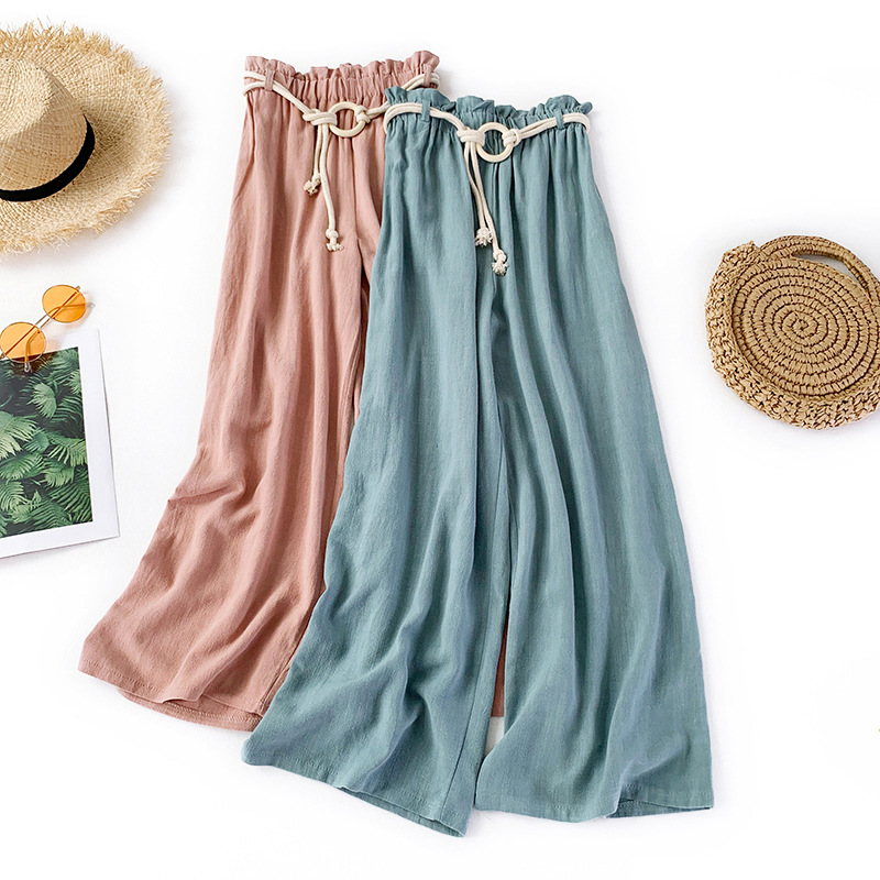 Cotton And Linen Sashes Women's   Pants   2019 Solid High Waist Loose   Wide     Leg     Pants   Summer Casual Ankle-Length   Pants   Jupe Femme