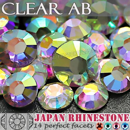 Clear AB SS12 SS16 SS20 SS30 SS40 Nail Art Strass Resin Niet Hot Fix Flat Back Kristallen steen voor DIY Nagels Glitters